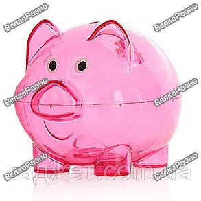 Прозрачна розовая копилка в виде поросенка., фото 2