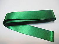 Стрічка атласна  двостороння 3 см ( 10 метрів) зелений  Н-03-075