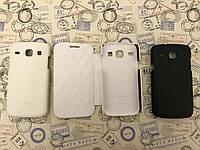 Кожаный чехол книжка и накладка Melkco для Samsung Core I8262 / I8260 белый и чёрный
