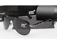 Мужские солнцезащитные очки Montblanc 374 цвет черный с серебром