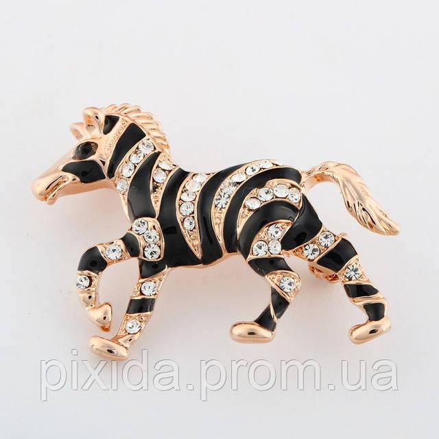 Брошь зебра фианиты позолота