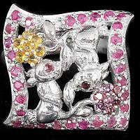Серебряное Кольцо с Натуральными Рубинами Сапфирами и Родолитами