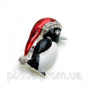Брошь Пингвинчик фианиты иск.жемчуг серебрение