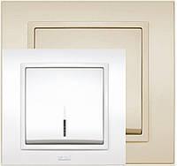 Выключатель одинарный с подсветкой белый, крем El-Bi Zena