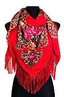 Народный платок Анна, 140х140 см, красный, фото 1