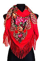 Народный платок Анна, 140х140 см, алый