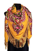 Народный платок Анна, 140х140 см, горчичный, фото 1