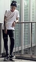 Черные штаны с кожаными вставками и замками на коленях