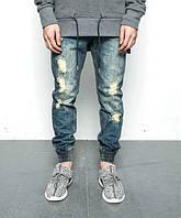 Джинсовые рваные штаны с резинками