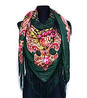 Народный платок Анна, 140х140 см, зеленый