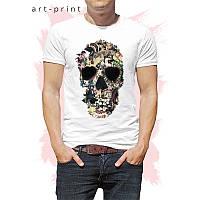 Чоловіча футболка бавовна біла з принтом Skull 1, фото 1