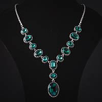 """Колье с кристаллами """"13 камней"""" стекло зеленое оправа """"зубчик"""" 3,2см, L-60см"""