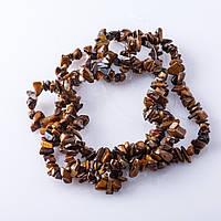 """Бусины натуральный камень на нитке Тигровый глаз """"каменная крошка """" 3-10мм 80-85см"""