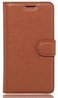 Кожаный чехол-книжка для Meizu M3 Note коричневый