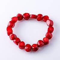 """Браслет красный Коралл """"рубка"""" 6-12 мм"""