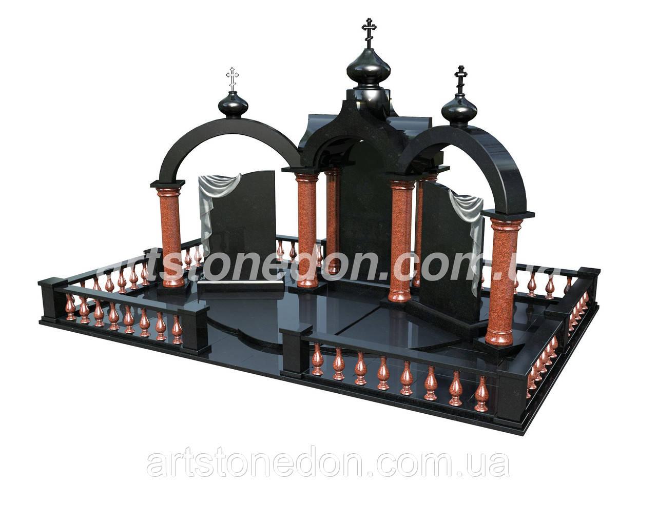 Проект памятника с колоннами 3D №911