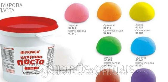 Мастика для торта сахарная (Украина) зелёная 1кг.(код 02491)