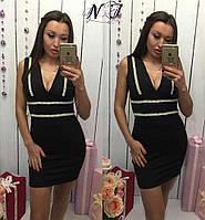 Стильное короткое черное  платье с жемчугом и стразами. Арт-9622/72