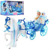 Карета 225A 52cм, лошадь с крыльями (ходит), кукла, 28см, свет, звук, на бат-ке,в кор-ке,56-19-30см Артикул: