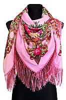 Народный платок Анна, 120х120 см, розовый, фото 1