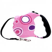 Рулетка-поводок для собак, Fashion Walker, розовая, 5м