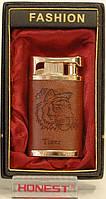 Подарочная зажигалка FASHION в коричневой коже модель PZ5436