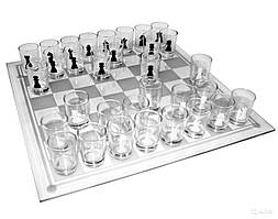Шахматы со стеклянными рюмками 28*28 см