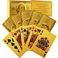 Карты игральные в сундучке, золотые,100 долларов