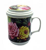 """Чашка заварник с ситечком """"Розы"""" (330 мл)"""