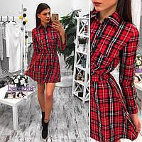 Платье в шотландскую клетку короткое с рубашечным воротником SMs1049