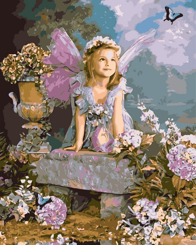 Раскраска по цифрам 40×50 см. Весенний ангел