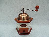 Ручная деревянная механическая кофемолка размер 15*15*22
