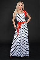 Легкое  шифоновое платье в горох с красным поясом , размер 44-46,46-48