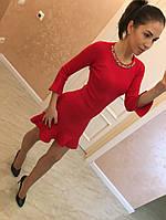 """Модное, женское, силуэтное платье """"Воланчики"""" (трикотаж, камни) фабричный Китай! РАЗНЫЕ ЦВЕТА"""