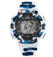 Часы детские наручные с подсветкой Sport, белый с синим