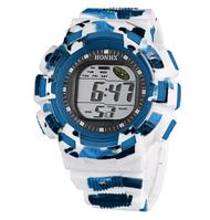 Часы детские наручные с подсветкой Sport, белый с голубым