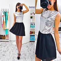 Платье коктейльное мини с пайетками креп-шифон 2 цвета SMb895