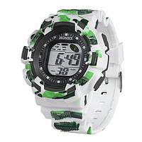 Часы детские наручные с подсветкой Sport, белый с зеленым