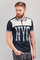 Поло мужское с принтом, футболка №222F058 (Бело-грифельный)