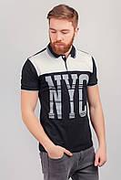 Поло мужское с принтом, футболка №222F058 (Черно-белый)
