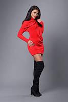 Симпатичное женское платье-туника красного цвета