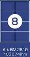 """Этикетка клейкая """"Buromax"""" А4 (8 на листе) BM2819"""
