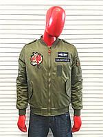 Молодёжная весення куртка хаки с нашивками U.S. Air Force