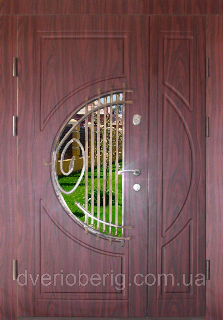 Входная дверь двух створчатая модель П3-34 vinorit-37 КОВКА