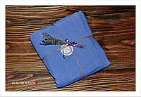 Темно-голубая льняная простынь, 205*240 см, фото 1