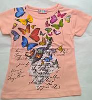 "Футболка ""Бабочки"", пудра (1-8 лет)"