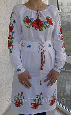 Панночка- платье вышитое с корсетным поясом