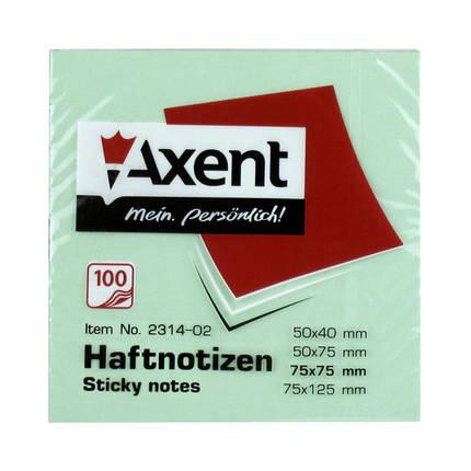 """Блок бумаги """"Axent"""" 75*75мм, 100листов, с клейким слоем 2314-02 зеленый, фото 2"""