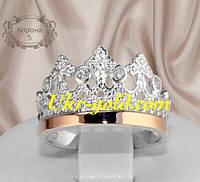 Красивое кольцо серебро со вставками золота в виде короны