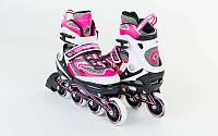 Роликовые коньки раздвижные ZELART LUX (PL, PVC, колесо PU, алюм. рама, розовый), фото 1
